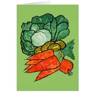 Vintage Hand-Painted Carrots, Lettuce & Potatoes Greeting Cards