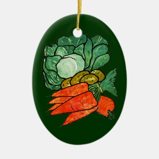 Vintage Hand-Painted Carrots, Lettuce & Potatoes Christmas Ornament