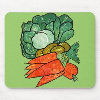 Vintage Hand-Painted Carrots, Lettuce & Potatoes Mouse Pad