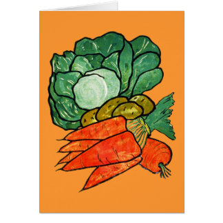 Vintage Hand-Painted Carrots, Lettuce & Potatoes Note Card