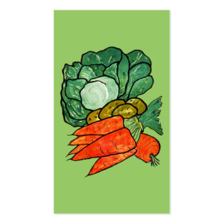 Vintage Hand-Painted Carrots, Lettuce & Potatoes Pack Of Standard Business Cards