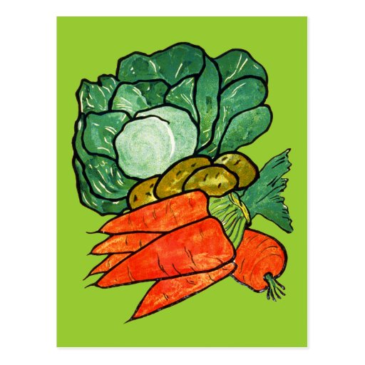 Vintage Hand-Painted Carrots, Lettuce & Potatoes Post Cards