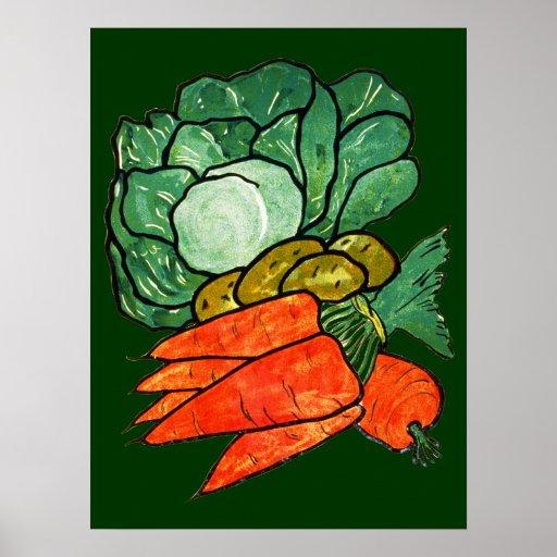 Vintage Hand-Painted Carrots, Lettuce & Potatoes Poster