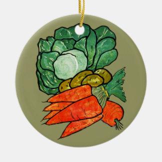 Vintage Hand-Painted Carrots, Lettuce & Potatoes Round Ceramic Decoration