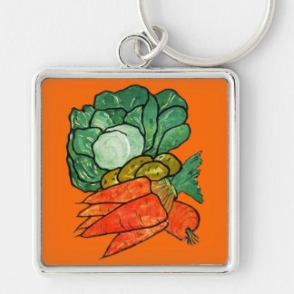 Vintage Hand-Painted Carrots, Lettuce & Potatoes Silver-Colored Square Key Ring