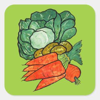 Vintage Hand-Painted Carrots, Lettuce & Potatoes Square Sticker