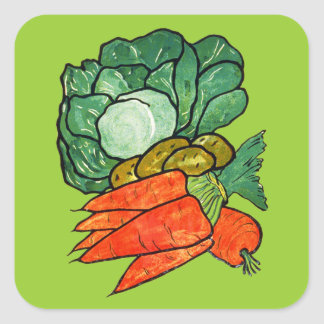 Vintage Hand-Painted Carrots, Lettuce & Potatoes Square Stickers