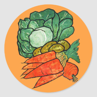 Vintage Hand-Painted Carrots, Lettuce & Potatoes Stickers