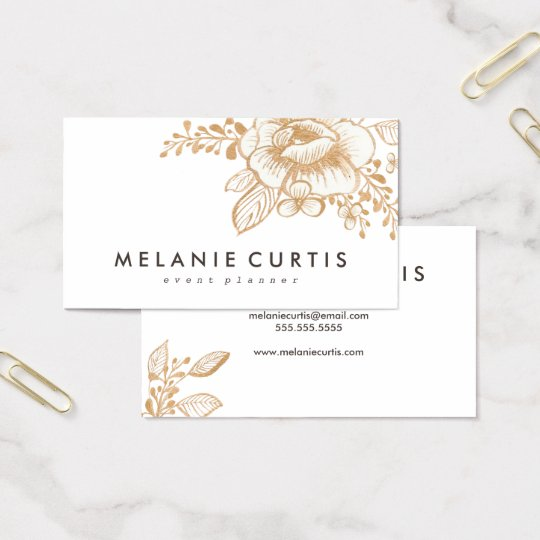 Vintage Hand Painted Gold Flower Business Card