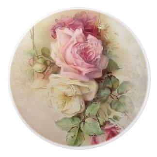 Vintage Handpainted Style Roses Ceramic Knob