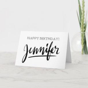 Vintage Handwritten Name Jennifer Birthday Cards
