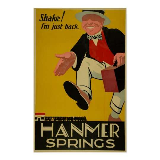 Vintage Hanmer Springs New Zealand Travel Poster