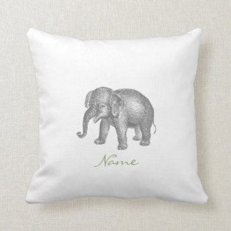 Vintage Happy Baby Elephant and Elephant Pattern Cushion