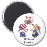 Vintage Happy Birthday America 6 Cm Round Magnet
