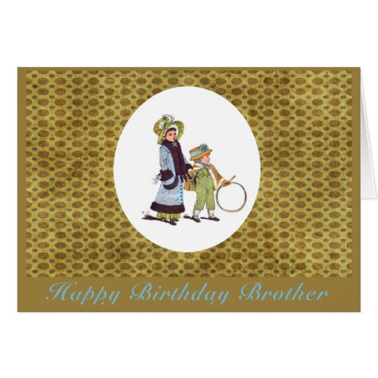 Vintage Happy Birthday Brother Card