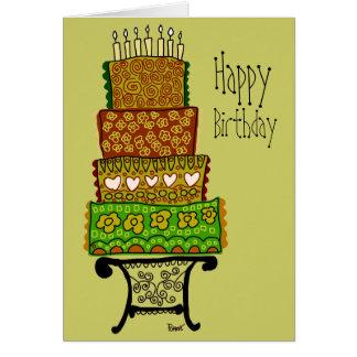 Vintage Happy Birthday Cake Card