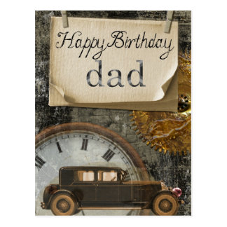 "Vintage ""Happy Birthday dad"" postcard"