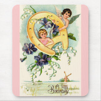 Vintage Happy Birthday Greetings Mouse Pads