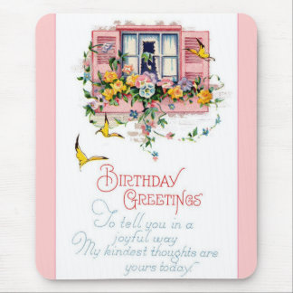 Vintage Happy Birthday Greetings Mousepad