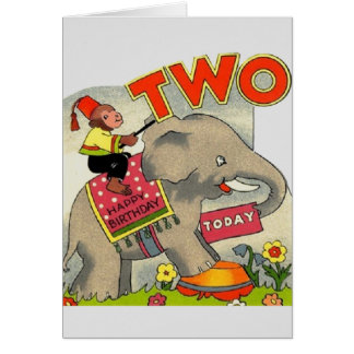 Vintage Happy Birthday Two Year Old Greeting Card