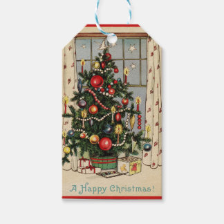 Vintage Happy Christmas Holiday Tree Gift Tags