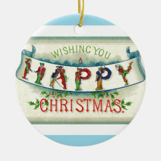 Vintage Happy Christmas Lettering Christmas Ornament