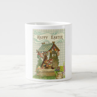 Vintage Happy Easter Bunny Painting Eggs Cute Large Coffee Mug