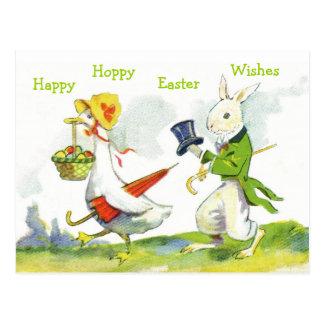 Vintage Happy Easter Postcard-Dressed Rabbit, Duck Postcard
