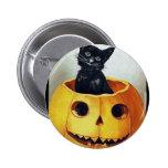 Vintage Happy Halloween Kitty in a Pumpkin Pinback Button
