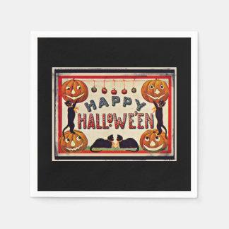 Vintage Happy Halloween Pumpkins Black Cats Disposable Serviettes