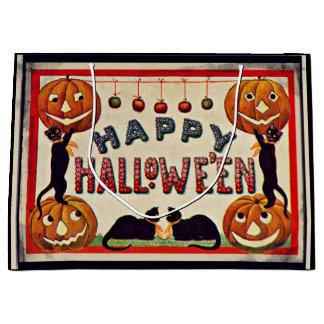 Vintage Happy Halloween Pumpkins Black Cats Large Gift Bag