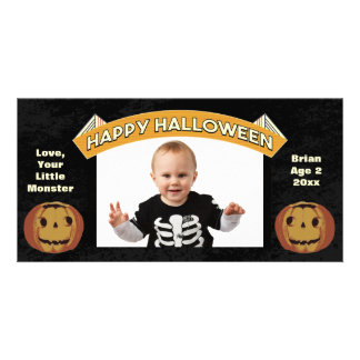 Vintage Happy Halloween Pumpkins Picture Card
