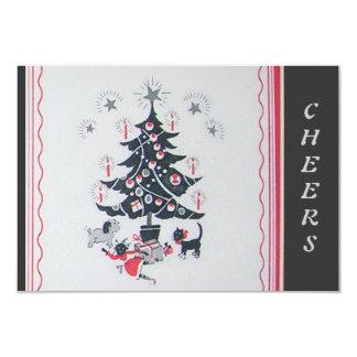 Vintage Happy Holiday Tree 9 Cm X 13 Cm Invitation Card