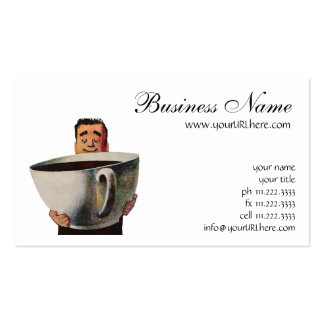 Vintage Happy Man Drinking Giant Cup of Coffee Business Card