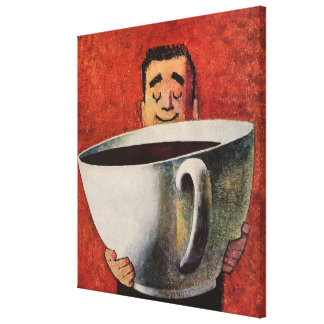 Vintage Happy Man Drinking Giant Cup of Coffee Canvas Prints