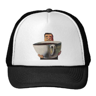 Vintage Happy Man Drinking Giant Cup of Coffee Trucker Hat