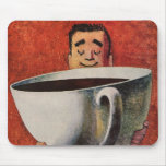 Vintage Happy Man Drinking Giant Cup of Coffee Mouse Mats