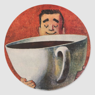 Vintage Happy Man Drinking Giant Cup of Coffee Round Sticker