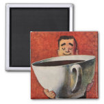 Vintage Happy Man Drinking Giant Cup of Coffee Square Magnet