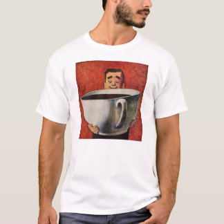 Vintage Happy Man Drinking Giant Cup of Coffee T-Shirt