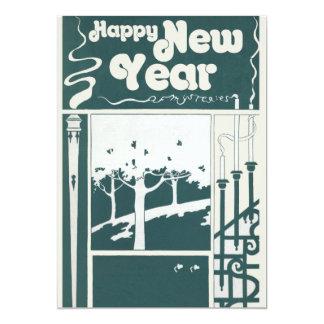 Vintage Happy New Year 13 Cm X 18 Cm Invitation Card