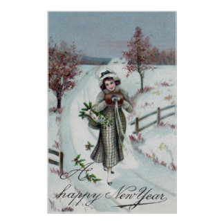Vintage Happy New Year Art Poster