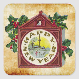 vintage happy new year clock square sticker