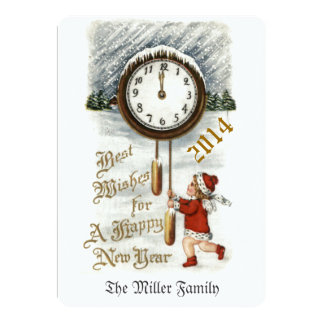 Vintage Happy New Year Greeting 13 Cm X 18 Cm Invitation Card