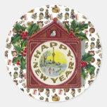 Vintage Happy New Year Round Stickers
