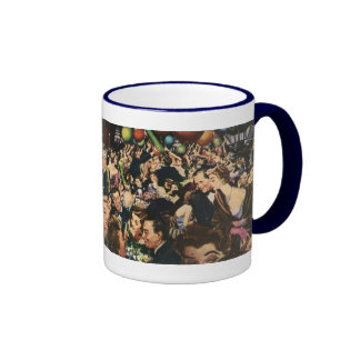 Vintage Happy New Year's Eve Party and Balloons Ringer Mug