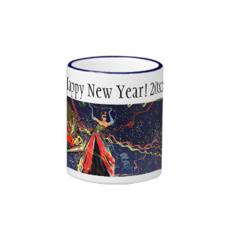 Vintage Happy New Years Eve Party with Confetti Ringer Mug