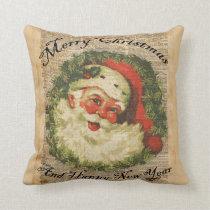 Vintage Happy Santa Christmas Greetings Art Cushion