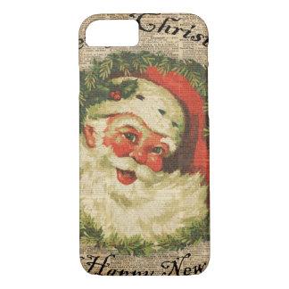 Vintage Happy Santa Christmas Greetings Art iPhone 7 Case