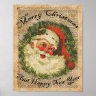 Vintage Happy Santa Christmas Greetings Art Poster